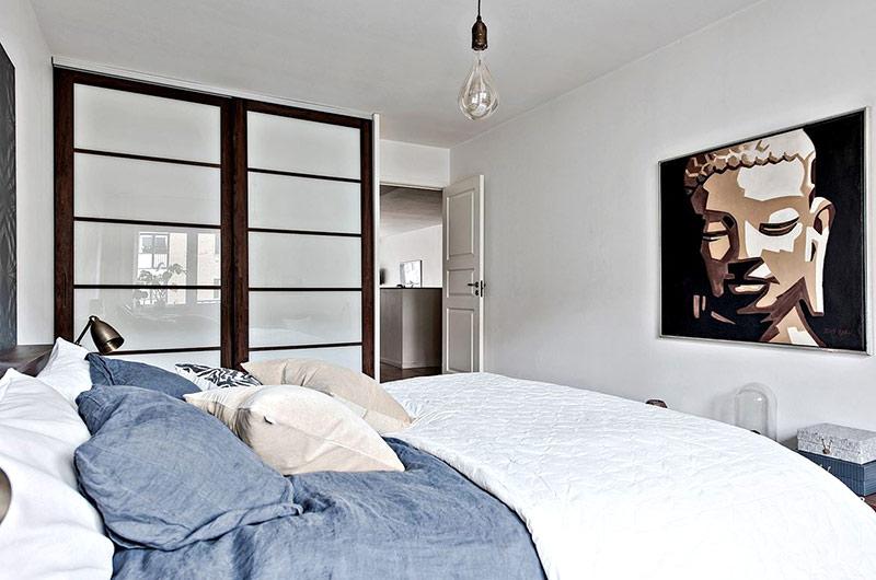 北欧风格一居室装修卧室推拉门设计
