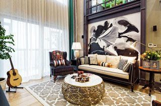 360平复式楼装修客厅地毯图片