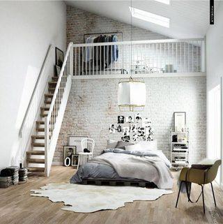 loft风卧室裸砖背景墙图片大全