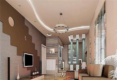 棕色的楼梯图案装饰着整个墙面,显得时尚大方,天花板上一款弧形吊顶