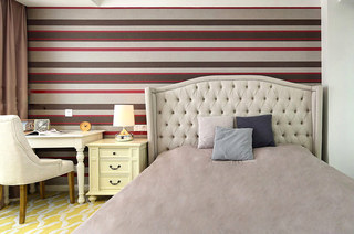 130平混搭风格三居卧室壁纸图片