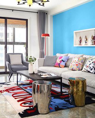 130平混搭风格三居客厅地毯效果图