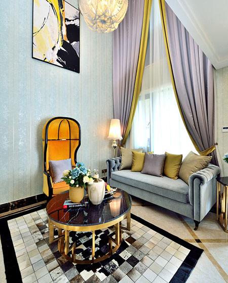 108平新古典风格二居客厅装修设计