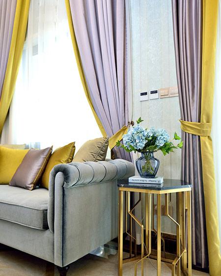 108平新古典风格二居客厅窗帘设计图