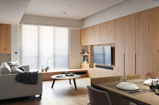 简约风格二居木质电视背景墙
