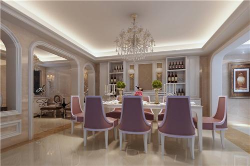 营造出十分典雅高贵的感觉,酒柜采用了对称式的设计,两旁打造了简约