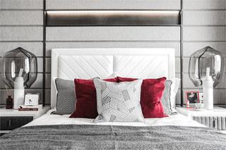 90平简约风格样板房卧室床头软包