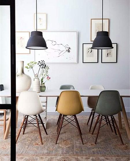 混搭风格餐椅摆放图片