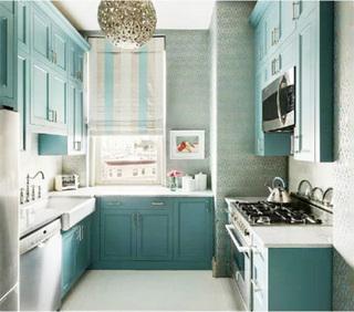 蓝色系美式厨房图片大全