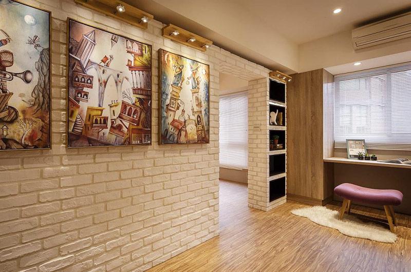 95平北欧风格二居背景墙装饰画