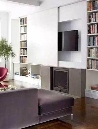 收纳型电视背景墙书架图片