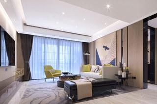 144平样板房装修客厅效果图
