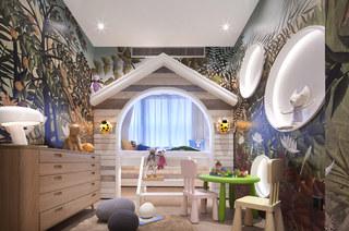 144平样板房装修儿童房壁纸图片