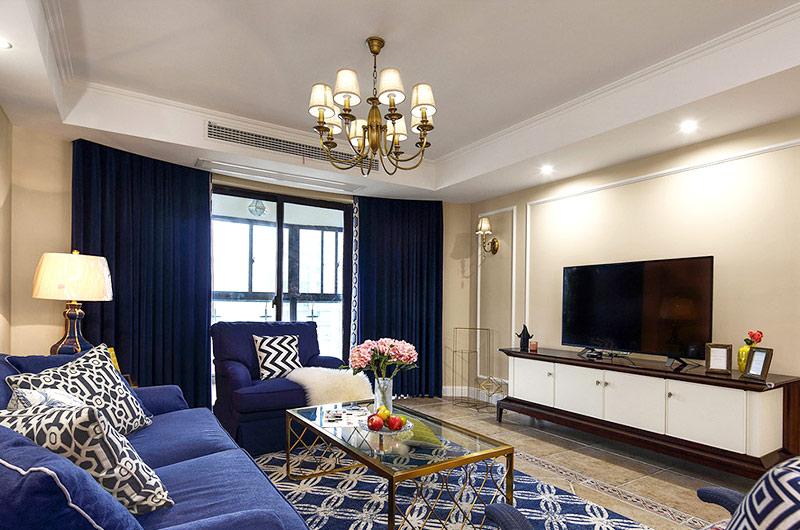 160平美式四房装修客厅设计图片