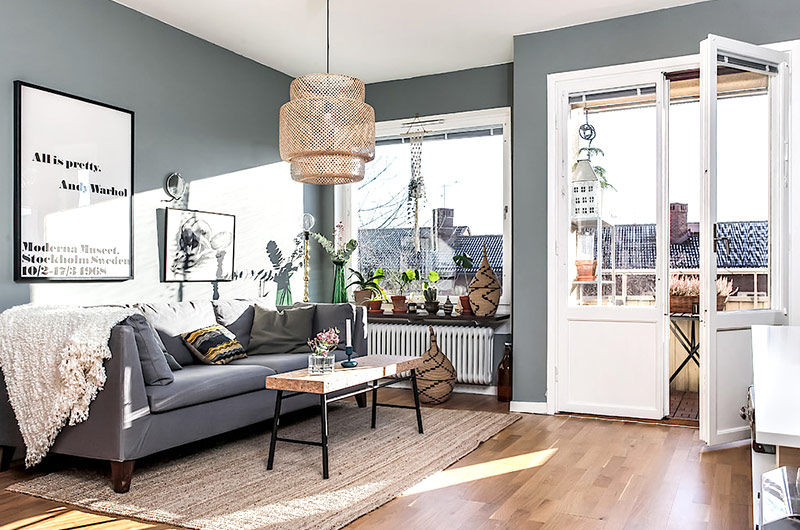 59平北欧风格一居沙发背景墙装修