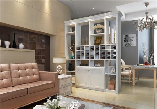 这既是一个展示柜,又是一个酒柜,各个陈列区划分十分合理,装饰效果极