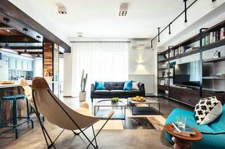 139平混搭风格三居客厅设计图