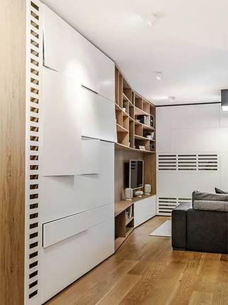 现代风复式单身公寓电视背景墙图