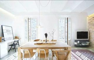 75平小户型二居木质餐桌图片