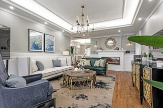 180平美式风格四居客厅效果图