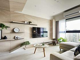 115平现代简约风格三居室装修 木作清新家