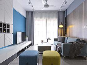 80平北欧风格两室两厅装修 蓝色狂想曲