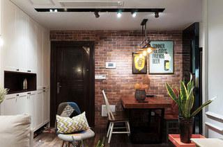 65平美式风格二居餐厅背景墙设计