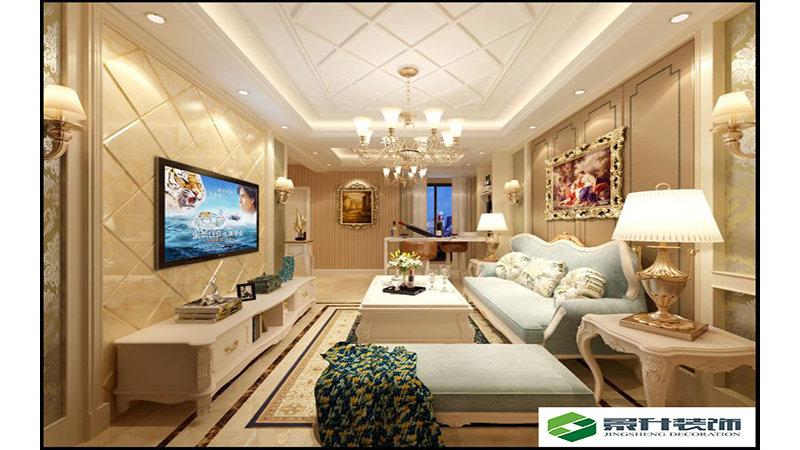 10-15万90平米欧式二居室装修效果图,锁石苑装修案例