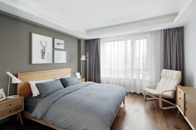 161平北欧风格三居卧室床品图片