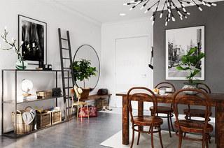 北欧风格一居室装修餐厅效果图