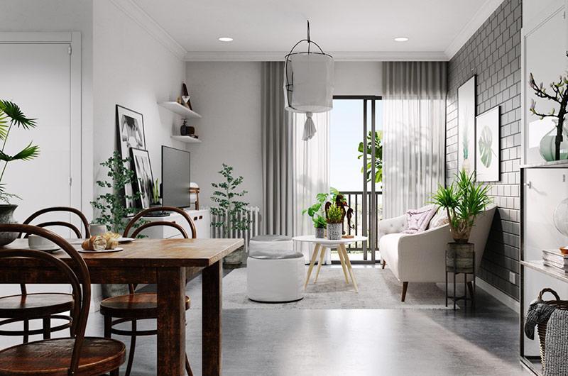 北欧风格一居室装修木质餐桌设计