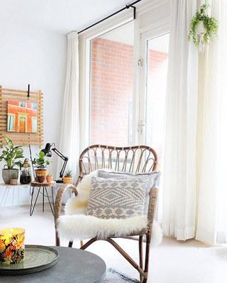 客厅白色窗帘装饰效果图