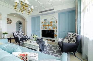 130平地中海风格三居客厅效果图