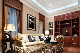 欧式古典风格样板房布艺沙发图片