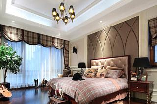 欧式古典风格样板房卧室床头软包