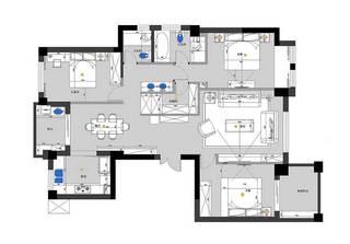 现代简约风两居室设计平面图