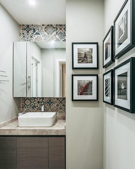 129平简约风格三居洗手台设计图