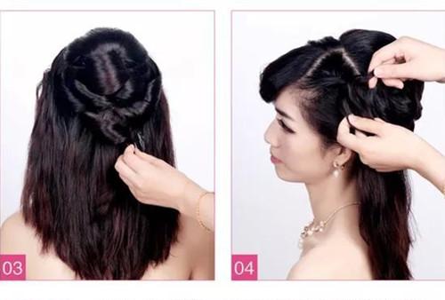 新娘发型图解教程介绍4:将左侧的刘海以及剩余的头发分成三股沿着图片