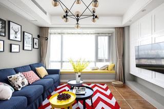 117平混搭风格三居客厅效果图