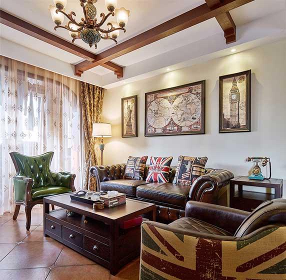 120㎡美式乡村两居室客厅图片