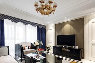 140平美式风格三居客厅效果图