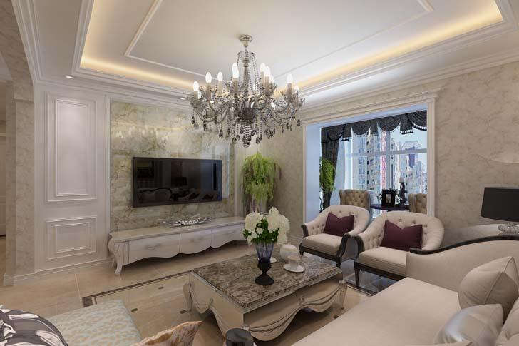 简约欧式客厅装修效果图 简欧客厅尽显华丽浪漫图片