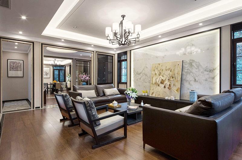 400平新中式风格别墅客厅装修设计