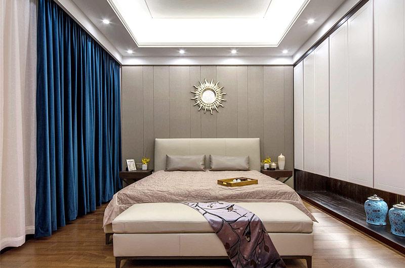 400平新中式风格别墅卧室床头软包