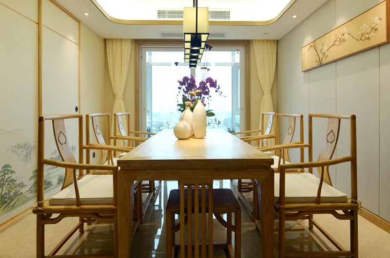 220平新中式风格四居餐厅效果图