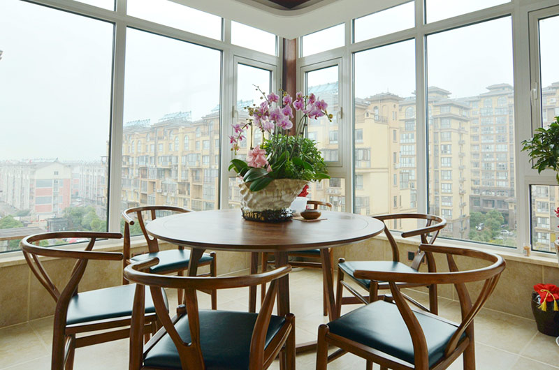 220平新中式风格四居阳台装修图