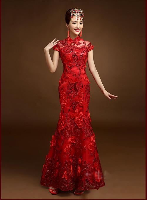 旗袍礼服新娘图片欣赏 新娘旗袍礼服的搭配技巧图片