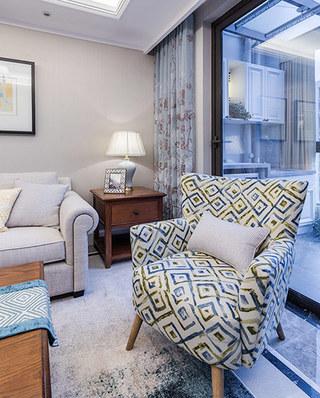 89平美式风格三居单人沙发图片
