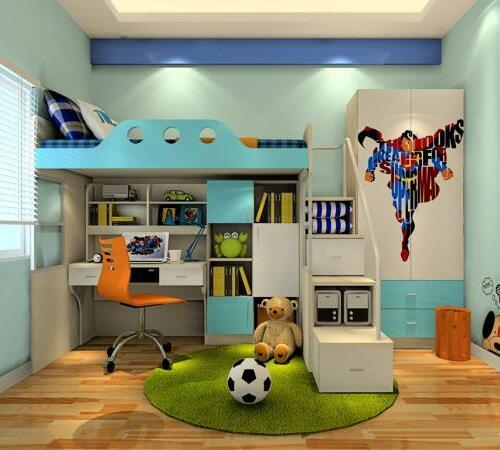 组合床儿童房布置图片 4个小卧室高低床设计方案图片