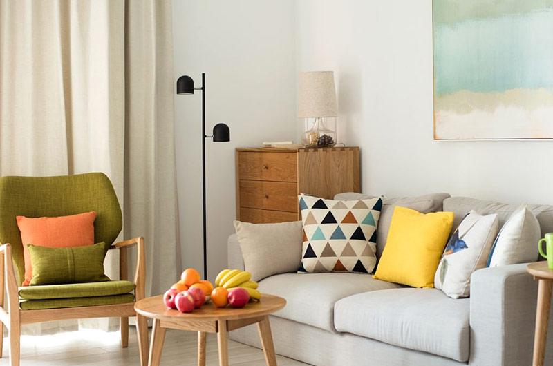 140平北欧风格复式楼双人沙发图片